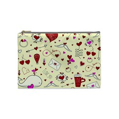 Valentinstag Love Hearts Pattern Red Yellow Cosmetic Bag (Medium)