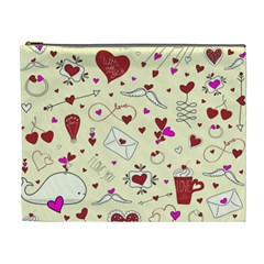 Valentinstag Love Hearts Pattern Red Yellow Cosmetic Bag (XL)