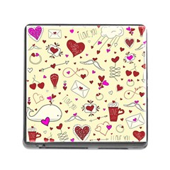 Valentinstag Love Hearts Pattern Red Yellow Memory Card Reader (Square)