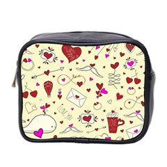 Valentinstag Love Hearts Pattern Red Yellow Mini Toiletries Bag 2-Side