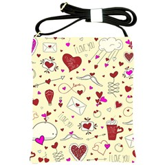 Valentinstag Love Hearts Pattern Red Yellow Shoulder Sling Bags