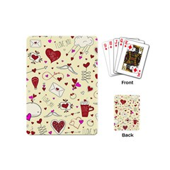 Valentinstag Love Hearts Pattern Red Yellow Playing Cards (Mini)