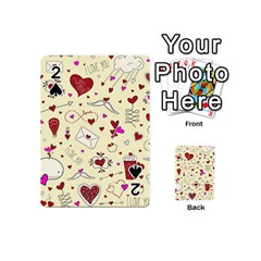 Valentinstag Love Hearts Pattern Red Yellow Playing Cards 54 (Mini)