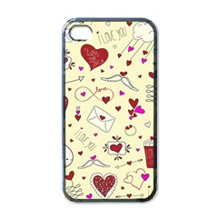 Valentinstag Love Hearts Pattern Red Yellow Apple iPhone 4 Case (Black)