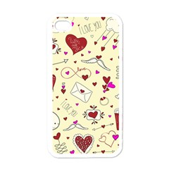 Valentinstag Love Hearts Pattern Red Yellow Apple iPhone 4 Case (White)