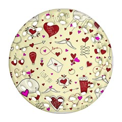 Valentinstag Love Hearts Pattern Red Yellow Round Filigree Ornament (Two Sides)