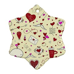 Valentinstag Love Hearts Pattern Red Yellow Snowflake Ornament (Two Sides)