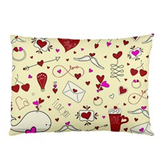 Valentinstag Love Hearts Pattern Red Yellow Pillow Case (Two Sides)