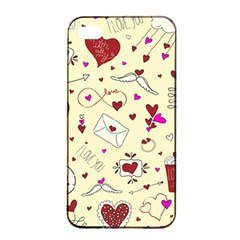Valentinstag Love Hearts Pattern Red Yellow Apple iPhone 4/4s Seamless Case (Black)