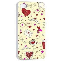 Valentinstag Love Hearts Pattern Red Yellow Apple iPhone 4/4s Seamless Case (White)