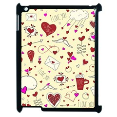 Valentinstag Love Hearts Pattern Red Yellow Apple iPad 2 Case (Black)
