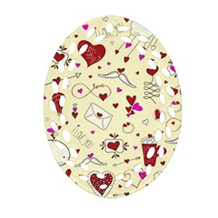 Valentinstag Love Hearts Pattern Red Yellow Oval Filigree Ornament (Two Sides)