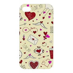 Valentinstag Love Hearts Pattern Red Yellow Apple iPhone 4/4S Premium Hardshell Case