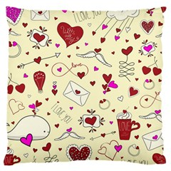 Valentinstag Love Hearts Pattern Red Yellow Large Cushion Case (Two Sides)