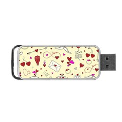 Valentinstag Love Hearts Pattern Red Yellow Portable USB Flash (One Side)
