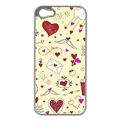 Valentinstag Love Hearts Pattern Red Yellow Apple iPhone 5 Case (Silver)