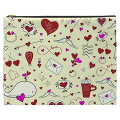Valentinstag Love Hearts Pattern Red Yellow Cosmetic Bag (XXXL)