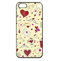 Valentinstag Love Hearts Pattern Red Yellow Apple iPhone 5 Seamless Case (Black)