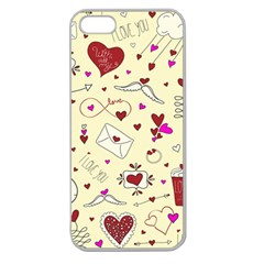 Valentinstag Love Hearts Pattern Red Yellow Apple Seamless iPhone 5 Case (Clear)