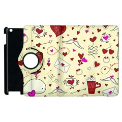 Valentinstag Love Hearts Pattern Red Yellow Apple iPad 2 Flip 360 Case