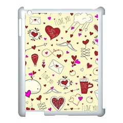 Valentinstag Love Hearts Pattern Red Yellow Apple iPad 3/4 Case (White)