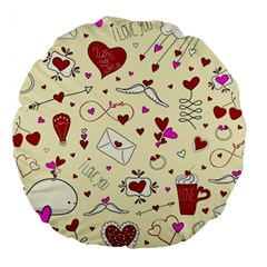 Valentinstag Love Hearts Pattern Red Yellow Large 18  Premium Round Cushions