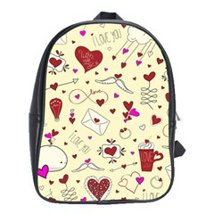 Valentinstag Love Hearts Pattern Red Yellow School Bags (XL)