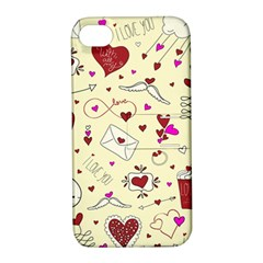 Valentinstag Love Hearts Pattern Red Yellow Apple iPhone 4/4S Hardshell Case with Stand