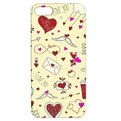 Valentinstag Love Hearts Pattern Red Yellow Apple iPhone 5 Hardshell Case with Stand
