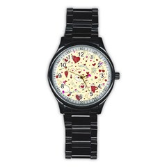 Valentinstag Love Hearts Pattern Red Yellow Stainless Steel Round Watch