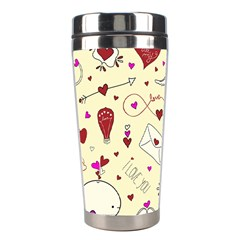 Valentinstag Love Hearts Pattern Red Yellow Stainless Steel Travel Tumblers
