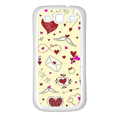Valentinstag Love Hearts Pattern Red Yellow Samsung Galaxy S3 Back Case (White)