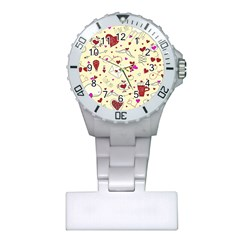 Valentinstag Love Hearts Pattern Red Yellow Plastic Nurses Watch