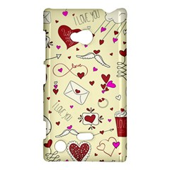 Valentinstag Love Hearts Pattern Red Yellow Nokia Lumia 720