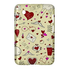 Valentinstag Love Hearts Pattern Red Yellow Samsung Galaxy Tab 2 (7 ) P3100 Hardshell Case