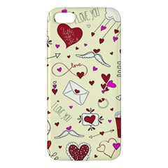 Valentinstag Love Hearts Pattern Red Yellow iPhone 5S/ SE Premium Hardshell Case