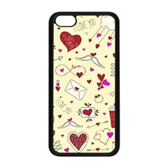 Valentinstag Love Hearts Pattern Red Yellow Apple iPhone 5C Seamless Case (Black)