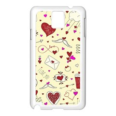 Valentinstag Love Hearts Pattern Red Yellow Samsung Galaxy Note 3 N9005 Case (White)