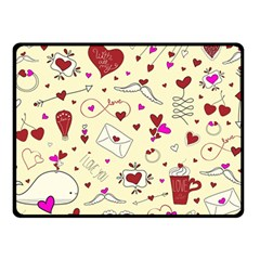 Valentinstag Love Hearts Pattern Red Yellow Double Sided Fleece Blanket (Small)