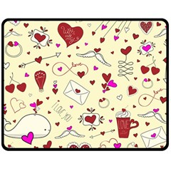 Valentinstag Love Hearts Pattern Red Yellow Double Sided Fleece Blanket (Medium)