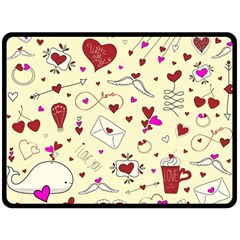 Valentinstag Love Hearts Pattern Red Yellow Double Sided Fleece Blanket (Large)