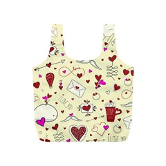 Valentinstag Love Hearts Pattern Red Yellow Full Print Recycle Bags (S)