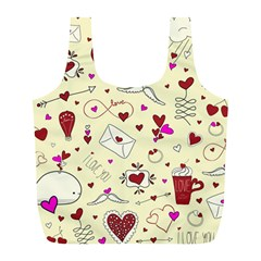Valentinstag Love Hearts Pattern Red Yellow Full Print Recycle Bags (L)