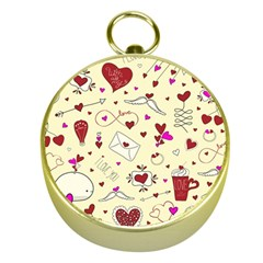 Valentinstag Love Hearts Pattern Red Yellow Gold Compasses