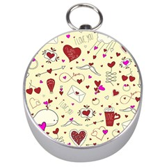 Valentinstag Love Hearts Pattern Red Yellow Silver Compasses