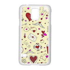 Valentinstag Love Hearts Pattern Red Yellow Samsung Galaxy S5 Case (White)