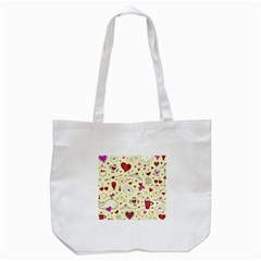 Valentinstag Love Hearts Pattern Red Yellow Tote Bag (White)
