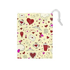 Valentinstag Love Hearts Pattern Red Yellow Drawstring Pouches (Medium)