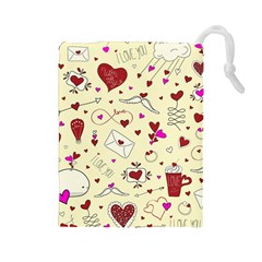 Valentinstag Love Hearts Pattern Red Yellow Drawstring Pouches (Large)