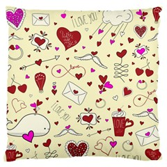 Valentinstag Love Hearts Pattern Red Yellow Large Flano Cushion Case (One Side)